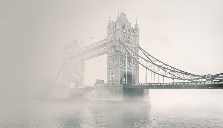 A picture of tower bridge taken on early on a really foggy morning, resulting in an old-world style picture. Amazing Architecture Beautiful Bridge - Man Made Structure Built Structure Check This Out City Connection Cool Day Fog Horizontal No People Old World Outdoors River Sky Suspension Bridge Tourism Tower Bridge  Transportation Travel Travel Destinations Water Waterfront
