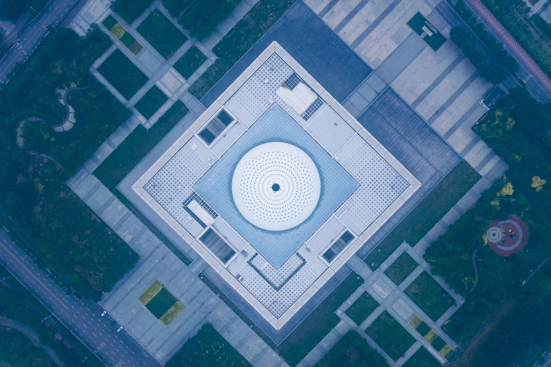 City, modern architecture, overlooking Modern Architecture Modern Abstract Aerial View Circle Day Shape Pattern Geometric Shape No People High Angle View Clear Sky High Angle View Travel China Landscape Early Morning Summer Built Structure Cityscape City Street City Life City Outdoors Architecture Building Exterior