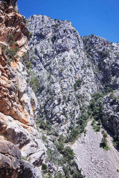 Balkan Roadtrip Beauty In Nature Cliff Day Eroded Formation Geology Land Low Angle View Mountain Mountain Peak Mountain Range Nature No People Non-urban Scene Outdoors Plant Rock Rock - Object Rock Formation Scenics - Nature Sky Solid Tranquil Scene Tranquility
