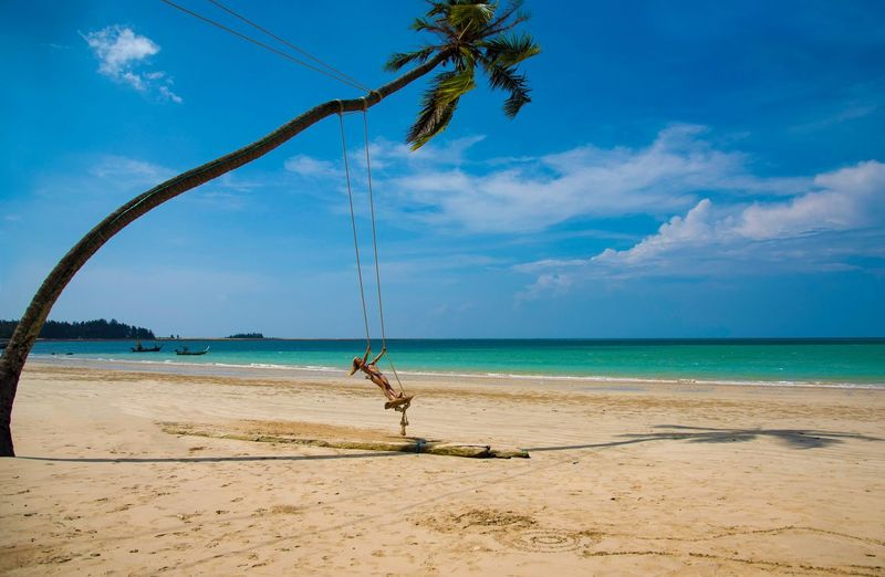 Emotion Thailand Carebean Sea Happiness Freedom Girl Palm Swing Perfect Dreamy Beach Vacations Beach Water Sky Sea Land Sand Nature Horizon Scenics - Nature Cloud - Sky Horizon Over Water Sunlight