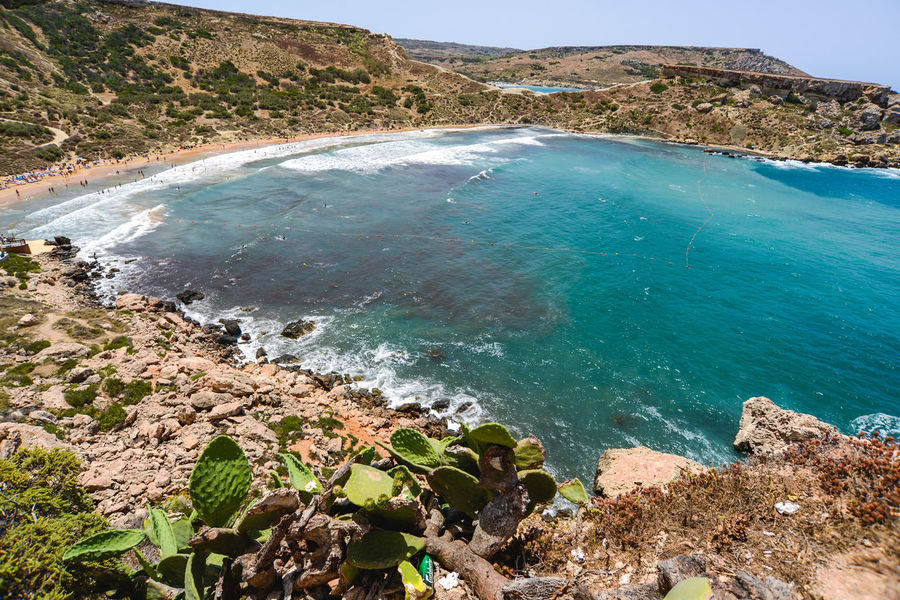 Cactus Hotels Malta Vacations Beach Beauty In Nature Blue Water Bluse Sea Cliff Day Golden Bay High Angle View Maltaphotography Maltese Mountain Nature No People Outdoors Physical Geography Rock - Object Scenics Sea Sky Tranquil Scene Tranquility Troy Turism Water Waves