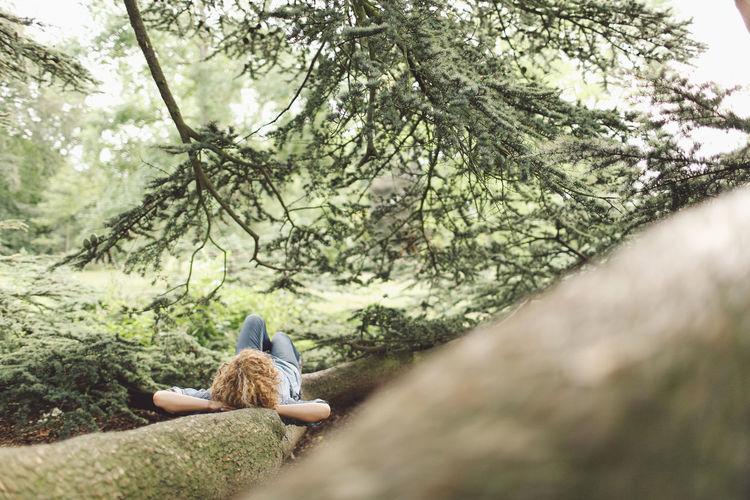 Woman Lying On Tree Root