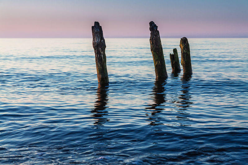 Groynes on shore of the Baltic Sea. Baltic Sea Beauty In Nature Day Evening Groyne Horizon Over Water Nature No People Outdoors Scenics Sea Sky Sunset Water