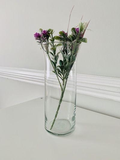 Flower vase on table against white background