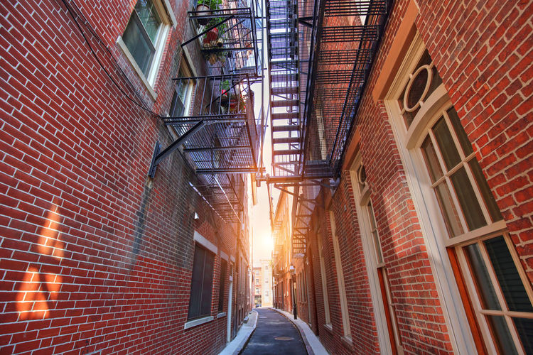 Scenic Boston North End Streets Boston, Massachusetts Boston North End New England  Brick Building Exterior Old Tourism Narrow Little Italy Restaurant Cafe Scenics Red Sunset Center Architecture