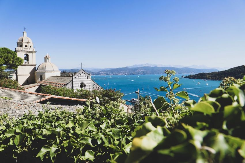 church and sea Summer Liguria Portovenere Plants Coast Sea Italy Architecture Sky Building Exterior Water Built Structure Nature Sea Place Of Worship Religion No People Building Day