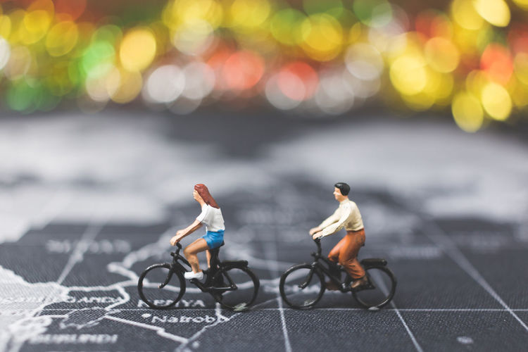 Action Active Activity Adventure Bicycle Bike Concept Creative Cycle Cyclist Exercise Figure Fun Happy Healthy Holiday Leisure Lifestyle Map Mini Miniature Model Object Outdoor People Plan Ride Riding Road Small Sport Toy Transport Transportation Travel Trip Vacation World