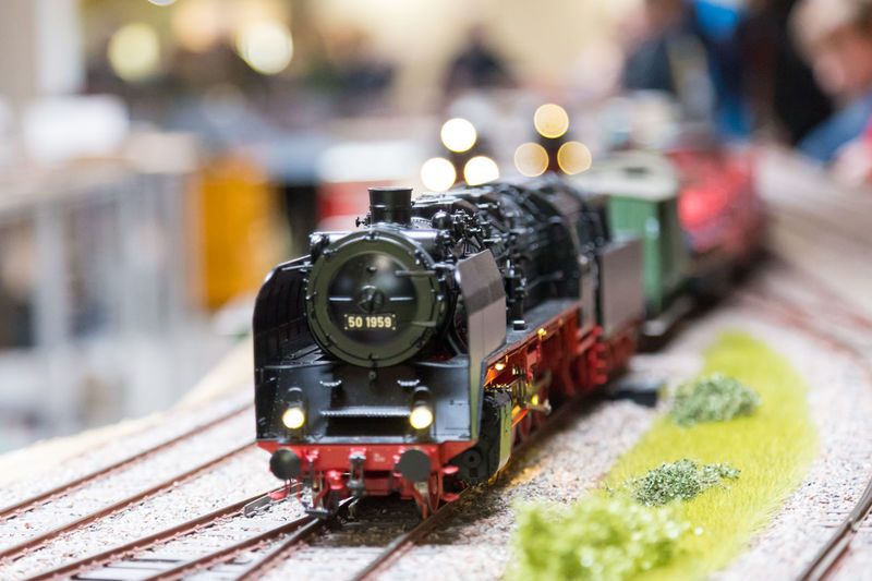Close-up of train on railroad track