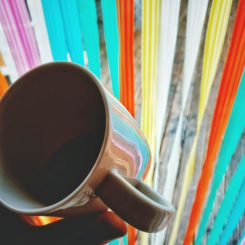 KICKING COLORS| Multi Colored Curtain Indoors  Day Close-up Coffee Coffee Time Life Happiness Mobilephotography Oneplus 3 Closeup Colourful Snapseed Lifestyles Relaxing Human Hand Coffee Cup Sommergefühle 100 Days Of Summer Breathing Space