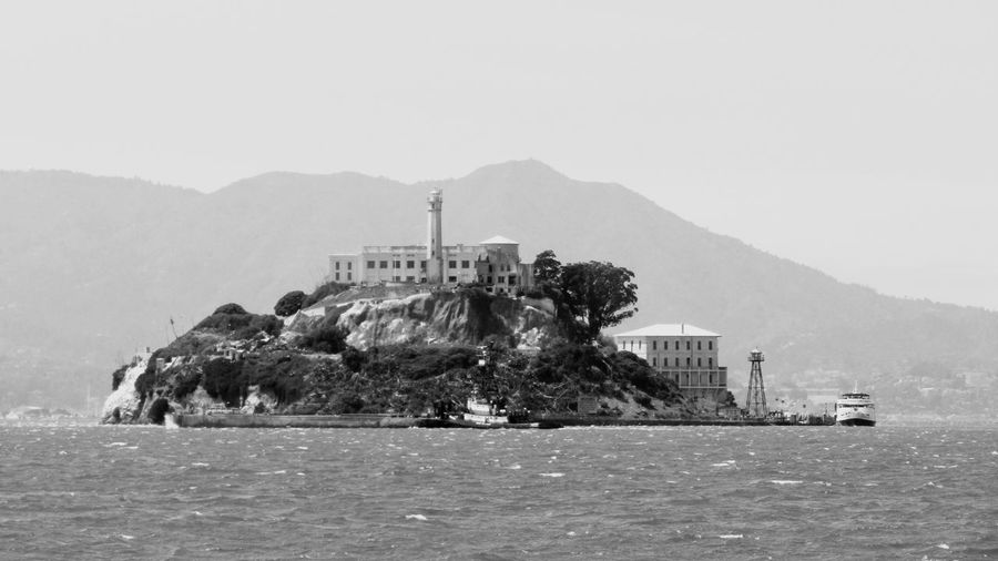 Alcatraz Island San Francisco Bay Black And White National Park Landmark Historic Site Building Exterior Built Structure Mountain Sky Nature Clear Sky History Building No People Water Land Outdoors