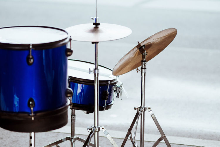 Absence Arts Culture And Entertainment Blue Close-up Concert Cymbal Drum Drum - Percussion Instrument Drum Kit Drumstick Fleamarket Focus On Foreground Indoors  Metal Music Musical Equipment Musical Instrument No People Percussion Instrument Seat Still Life Studio Analogue Sound