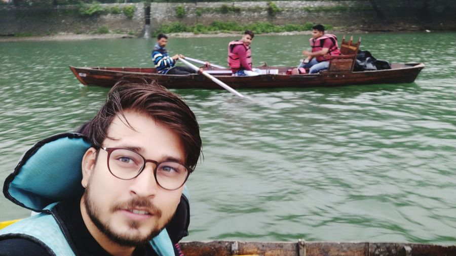 Selfie on Nainital Lake Water Gondola - Traditional Boat Nautical Vessel Oar Rowing Men Sitting River Tree Boat