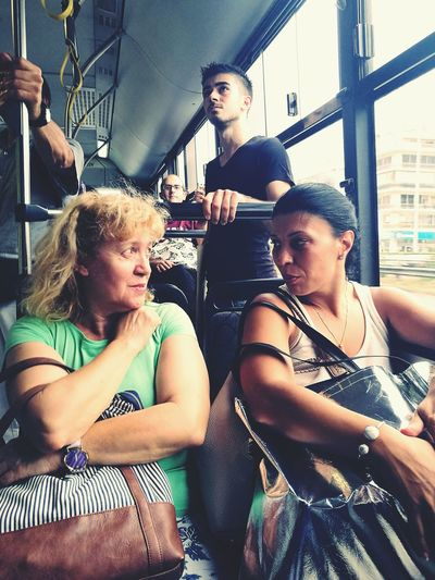 What happens in rhe bus, stays in the bus. Friends Women Bonding Bus Day Commuters Commuting To Work Secret Girlfriends ♥ Athens, Greece City Citylife