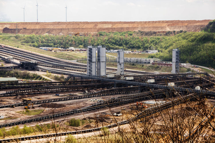 High angle view of railroad tracks on land