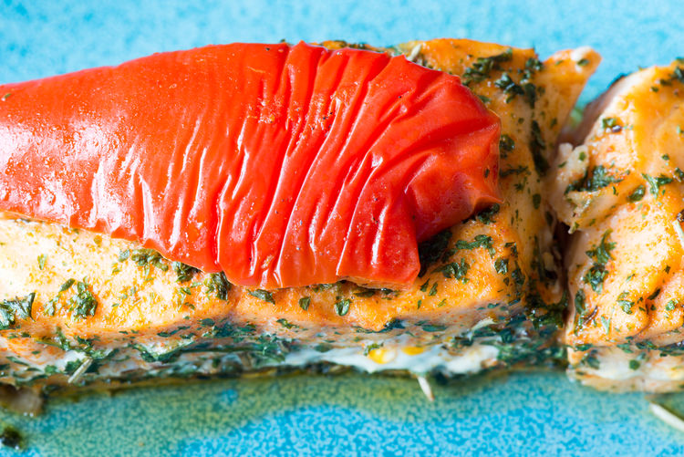 Close-up of salmon stuffed with cheese