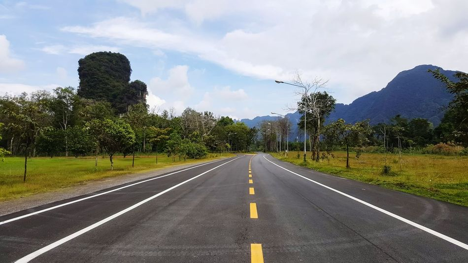Beautiful road in Thailand. Paved Road Pavement The Way Forward Cloud - Sky Road No People Day Tree Outdoors Sky Nature