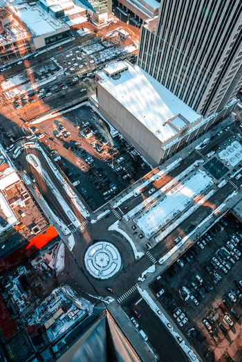 Aerial View Architecture Building Exterior Travel Destinations High Angle View City Built Structure Outdoors Road No People Day Cityscape Close-up Downtown District Chicago Winter Skyscraper City Life Architecture City Cityscape Urban Skyline Snow Clear Sky Sunlight