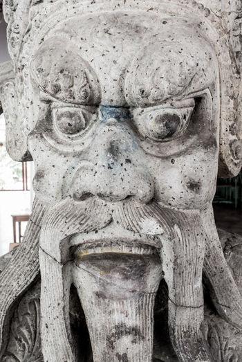Ancient Chinese stone statue at Wat Poh, Bangkok, Thailand (Portrait close up shot) Amazing Ancient Antique Art And Craft Chinese Chinese Art Classic Close Up Decoration Detail Face Giant Handicraft Head Shot  Idol Old Portrait Sculpture Statue Stone Style Thailand Vintage Wat Pho Wat Poh (Tatiean),Bangkok Thailand,