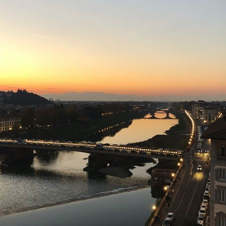 Night View Of The Arno River Light Lines Sunset Architecture Built Structure Water Bridge - Man Made Structure Connection City River No People Building Exterior High Angle View Cityscape Travel Destinations Outdoors Reflection Sky Transportation Clear Sky Scenics Road Mobility In Mega Cities