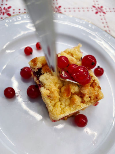 Close-up of dessert served in plate