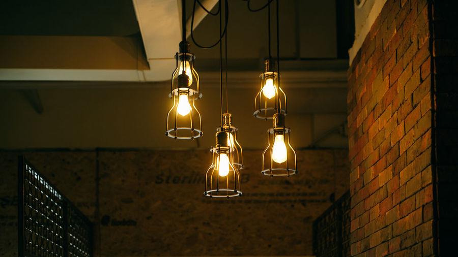 Light bulb lit up at night