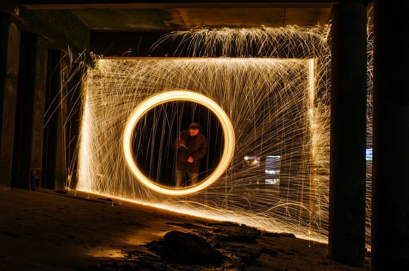 Wire Wool Fire London Bankside Long Exposure Sparks Fly Sparks Flying Sparks