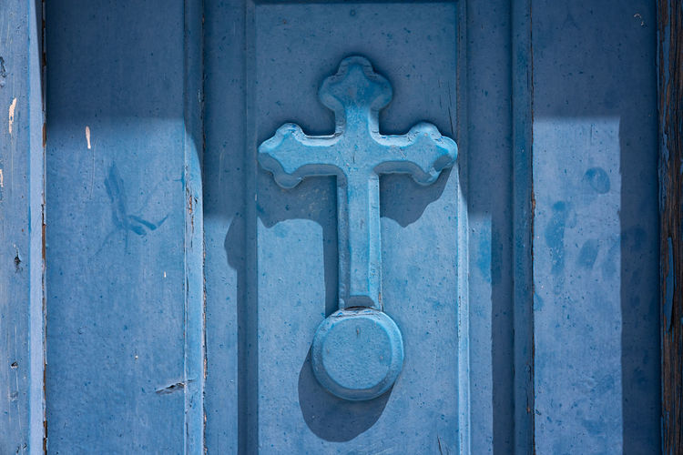 Close-up of blue door