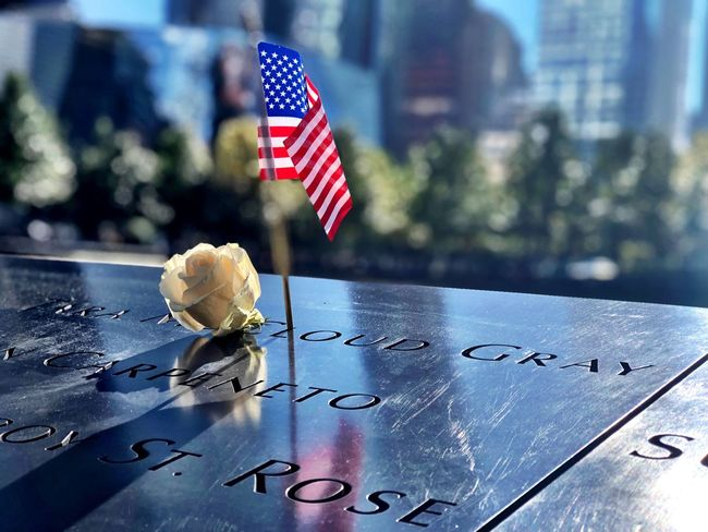 Newyork City #wordtradecentermemorial#flag #worldtradecenter Flag Patriotism Text Day No People Focus On Foreground Close-up Memorial Communication