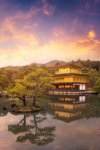 Kinkakuji Temple the temple of the Golden Pavilion a buddhist temple in Kyoto,Japan. ASIA Ancient Golden Japan Kinkakuji Temple Nature Sightseeing Tourist Architecture Cloud - Sky Garden Heritage Kinkakuji Kyoto Lake Landmark Landscape Nature Outdoors Reflection Sunset Tranquility Travel Destinations Water Zen