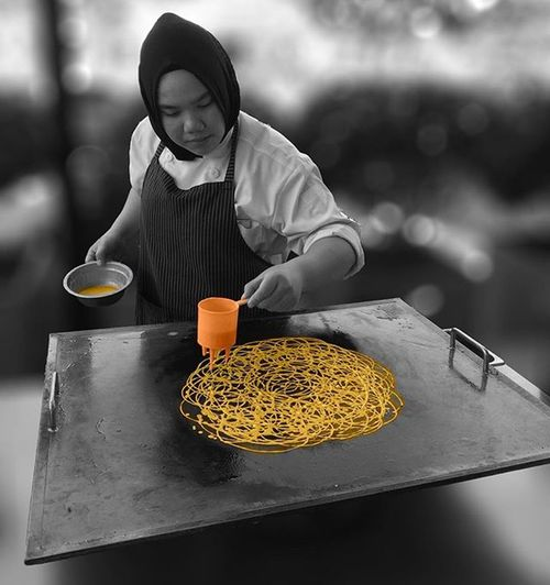 Showcasing a little bit of Malaysian culture. This is how Roti Jala is made. This lacy and net like pancake is a popular snack to go with various curries. Rotijala Colorsplash Colorsplash_of_our_world Colorsplurge Colorsplash_bu Colorsplash_bw Blackandwhite Bnw Bnw_society Bnw_captures Culture Bw_lover Bw_society Bw_crew Worldcaptures Global_capture Instaworldz Malaysia Ig_myshot Instagram Ig_malaysia Rocanahotel Colorsplashturkey Streetphotography Iphonephotoacademy iphone6 streetstyle all_shots love food