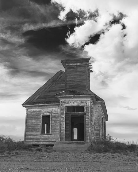 Abandoned Church Abandoned Places Black & White Church Cowboy Desert New Mexico Old West  Abandoned Architecture Billy The Kid Blackandwhite Photography Cloud - Sky Landscape Landscapes Nature No People Old Buildings Outdoors Sky Southwest  Southwestern Usa