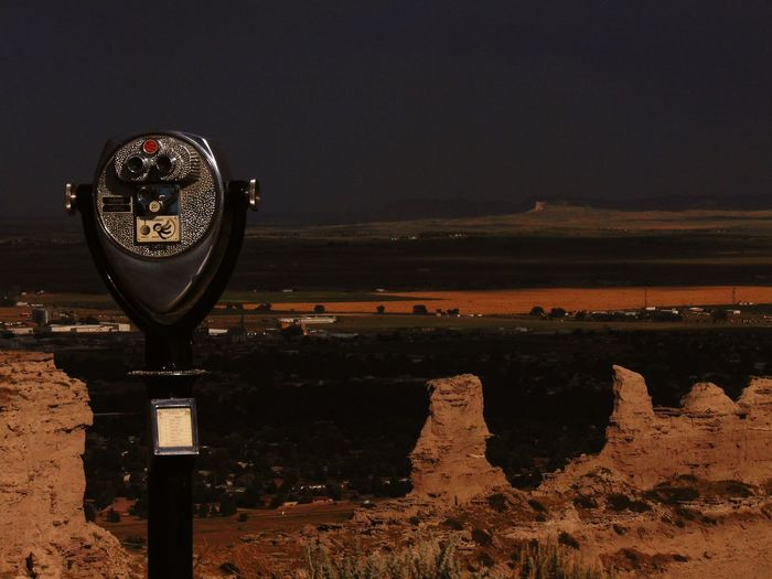 Coin-operated binoculars overlooking national park