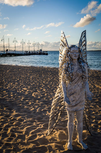 Angel Angel Wings Beach Day Outdoors Representing Sculpture Sea Sky Water