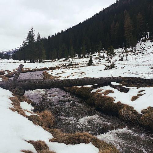 Stream along snowed landscape