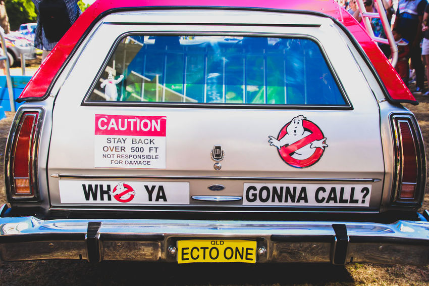 Car Car Sticker Close-up Communication Day Film Ghostbusters No People Outdoors Stationwagon Supanova Text Transportation Vehicle Western Script