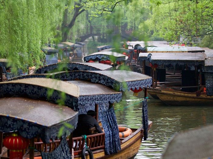 Traditional chinese boats on canal