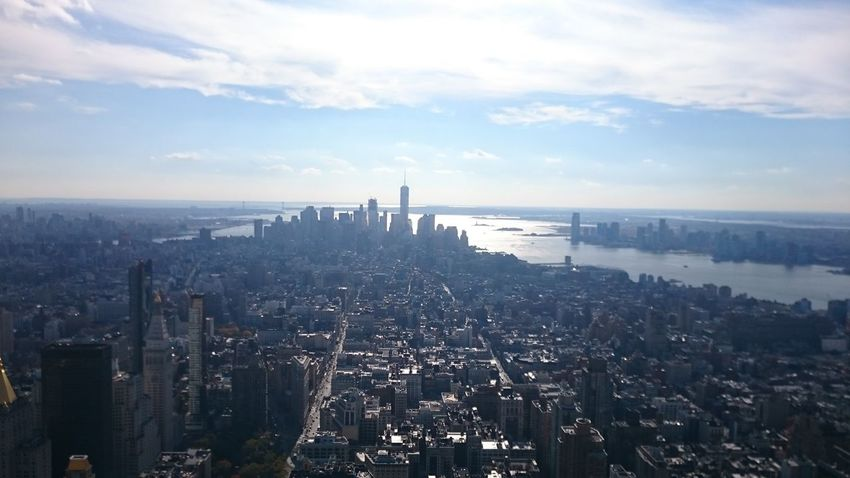 New York City Empire State Building Sea Business Finance And Industry Sunset Industry Business Social Issues City Harbor Outdoors Environmental Issues Environmental Conservation No People Scenics Shipping  Cityscape Horizon Over Water Water Day Sky View See For Miles High
