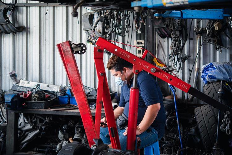 Men working in bus
