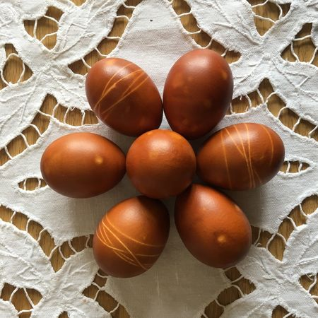 Easter Food Easter Eggs On Display Easter Egg Easter Eggs Easter Food And Drink Food Wellbeing Healthy Eating Indoors  Close-up Freshness Egg No People Pattern Still Life Brown Table Directly Above Group Of Objects Shape