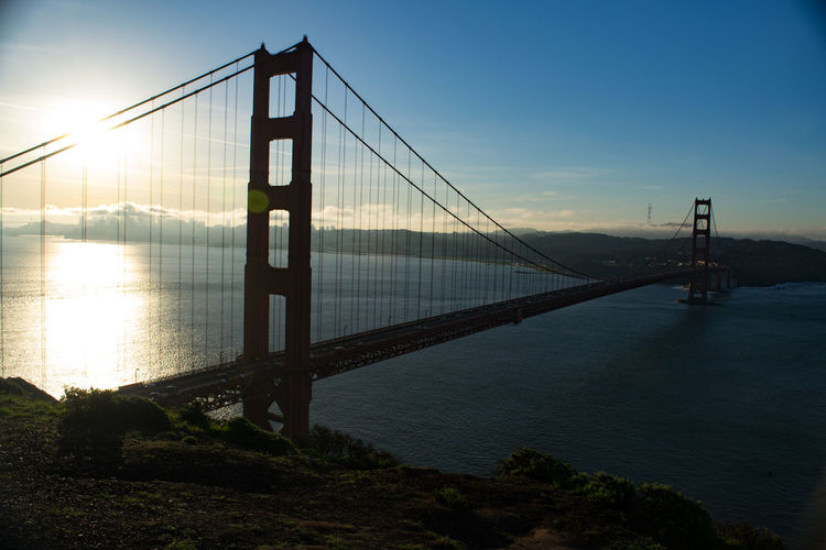 Early morning photo of the Golden Gate Bridge, San Francisco, CA. Architecture Bridge Connection Engineering Foggy Morning International Landmark Sunrise Suspension Bridge Transportation