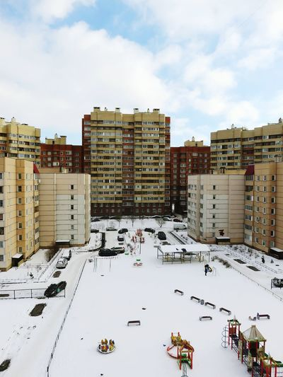 View Of Cityscape In Winter