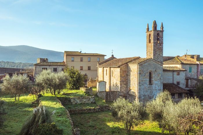 Architecture Building Exterior Built Structure Church Clear Sky Day History Italian Italy Medieval Monteriggioni No People Outdoors Renaissance Sky Tower Town Tuscany UNESCO World Heritage Site Walls