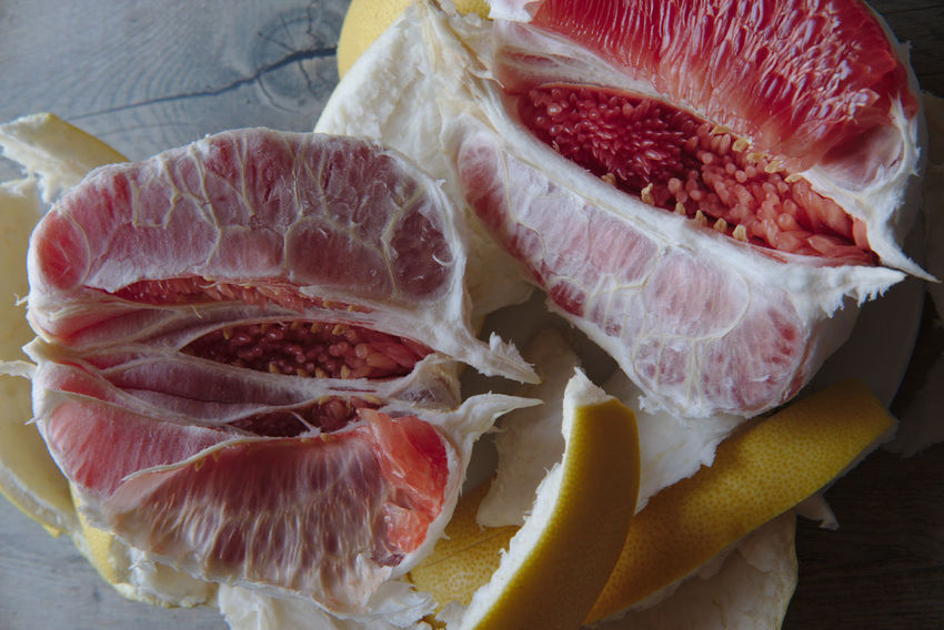 pomelo Blood Orange Citrus Fruit Close-up Cross Section Day Food Food And Drink Freshness Fruit Grapefruit Healthy Eating Indoors  Meat No People Pomelo Pomelo Fruit Raw Food SLICE Food Stories