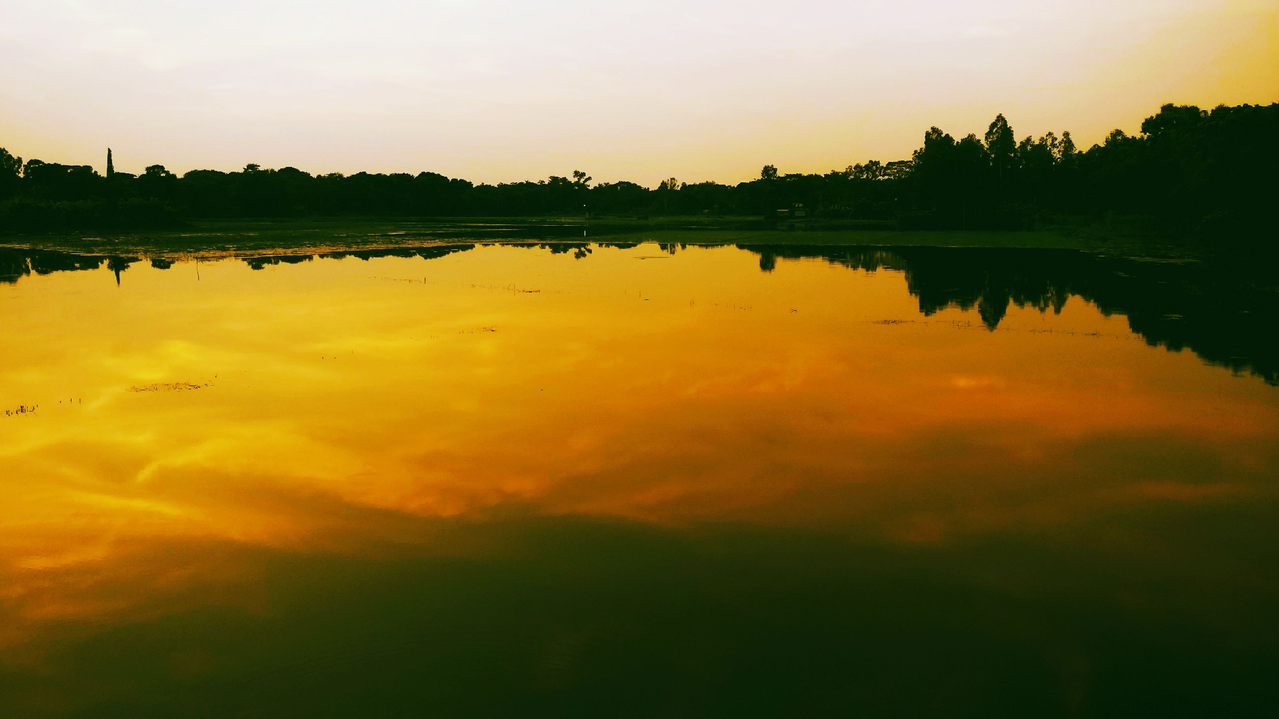 reflection, sunset, water, lake, nature, scenics, tranquil scene, silhouette, standing water, tranquility, beauty in nature, sky, outdoors, waterfront, no people, tree, day