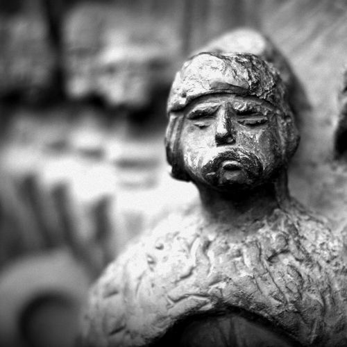 Statue Human Representation Sculpture Focus On Foreground Close-up No People Day Outdoors Face Guard - Sport Portrait Black & White Black And White Photography Canon Canonphotography Canon 40D Canon 1.8