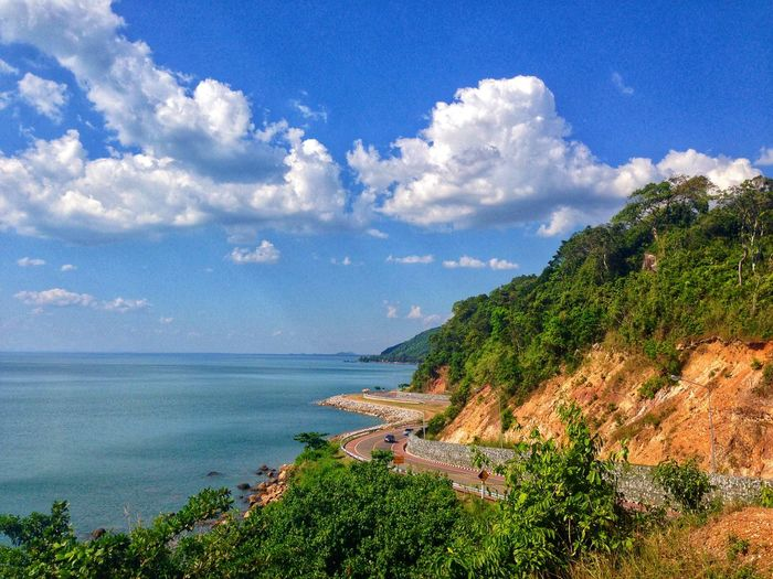 Road between mountain and sea ,blue sky in sunny day Chanthaburi Thailand EyeEmNewHere Cloud - Sky Sky Plant Beauty In Nature Tree Water Scenics - Nature Sea Nature No People Growth Day Beach Land Idyllic Outdoors Green Color