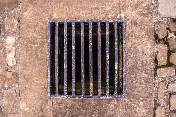 Directly above shot of metal grate on wall