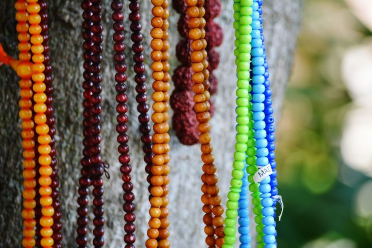 Close-up of colourful beads