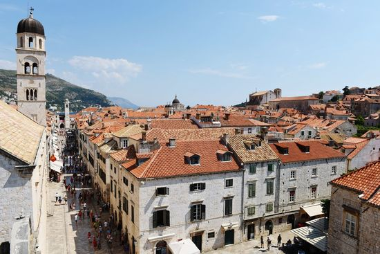 Architecture Building Exterior Outdoors Day Built Structure Sky Cityscape Clock Face Clear Sky City Dubrovnik Dubrovnik, Croatia Croatia ♡ Travel Destinations Town Summer Landscape High Angle View Roof Tile Architecture Roof History Ancient Vacations