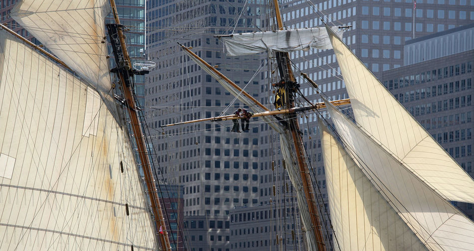 All hands on deck ..... 3 Master Architecture Building Built Structure Capital Cities  City City Life Cityscape Construction Day Fresh On Eyeem  Mar Mesh Up Mi Modern New York No People Office Building Outdoors Sail Boat Sail Boats Sky Skyscraper Tall - High Travel Destinations